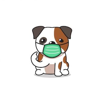 Cartoon karakter bulldog dragen beschermend gezichtsmasker