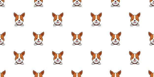 Cartoon karakter corgi hond gezicht naadloze patroon achtergrond voor ontwerp.