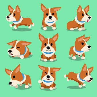 Cartoon karakter corgi hond vormt