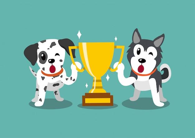 Cartoon karakter dalmatische en siberische husky honden met gouden trofee cup award