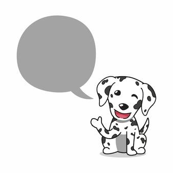 Cartoon karakter dalmatische hond met tekstballon voor design.
