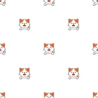 Cartoon karakter exotische korthaar kat naadloze patroon achtergrond voor ontwerp.