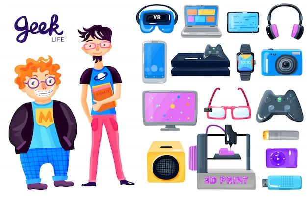 Cartoon karakter gadgets icons set