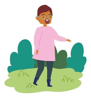 Cartoon karakter gelukkig man in het park