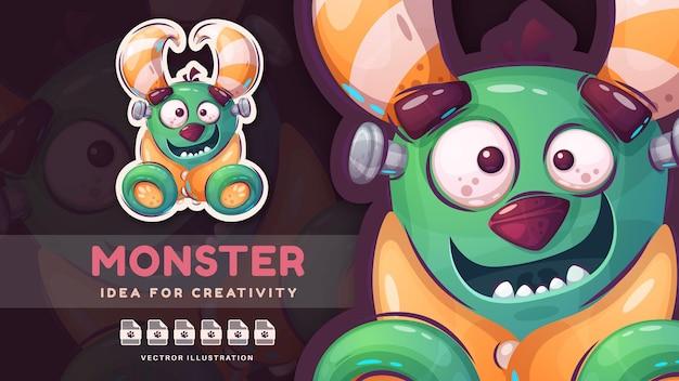 Cartoon karakter grappige monster schattige sticker