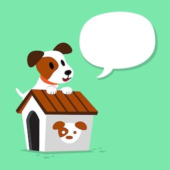 Cartoon karakter jack russell terrier hond en kennel