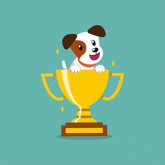 Cartoon karakter jack russell terrier hond met gouden trofee cup award