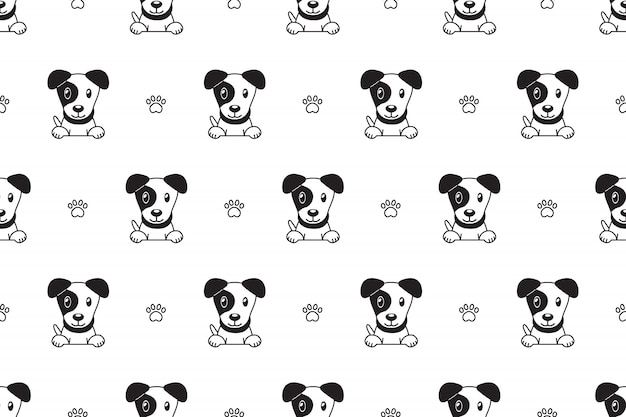 Cartoon karakter jack russell terrier hond naadloze patroon
