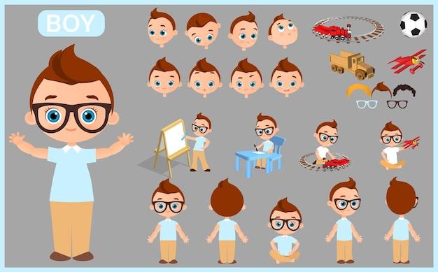 Cartoon karakter jongen constructor creatie mascotte kit geïsoleerde vectorillustratie