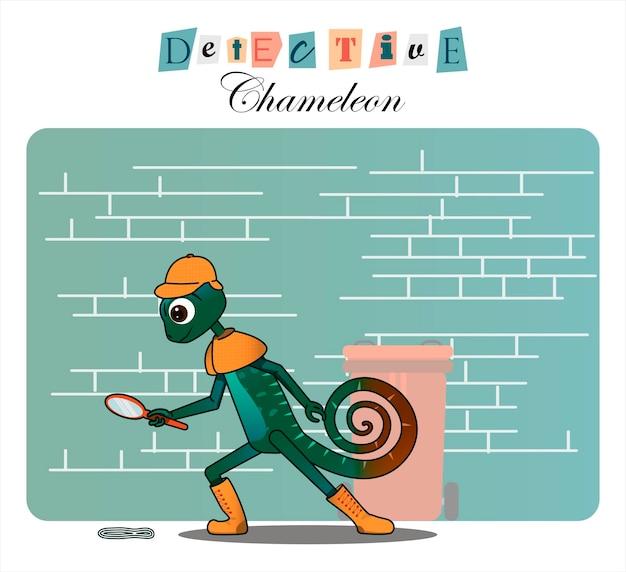 Cartoon karakter kameleondetective vlakke afbeelding voor kinderboeken