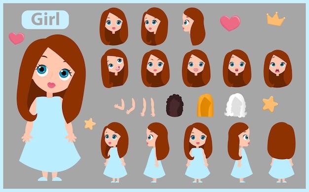 Cartoon karakter meisje constructor creatie mascotte kit. set met posities, kapsels, emoties. geïsoleerde vectorillustratie.