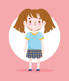 Cartoon karakter meisje leerling schooluniform vectorillustratie