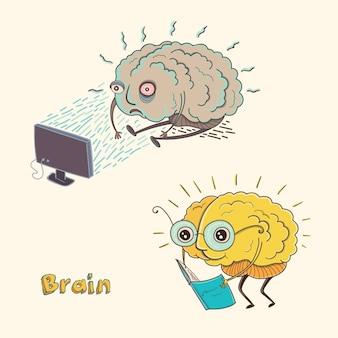Cartoon karakter menselijk brein