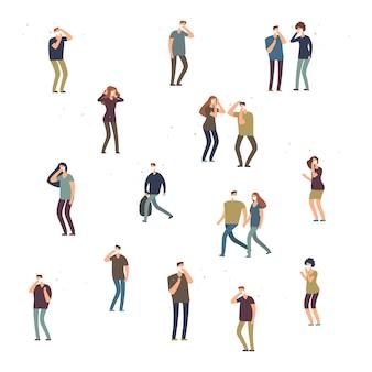 Cartoon karakter mensen, vrouwen en mannen in stofmasker geïsoleerd op een witte achtergrond