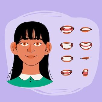 Cartoon karakter mond animatieframes
