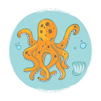 Cartoon karakter octopus embleem. grunge vector oceaan dierlijk logo pictogram geïsoleerde illustratie