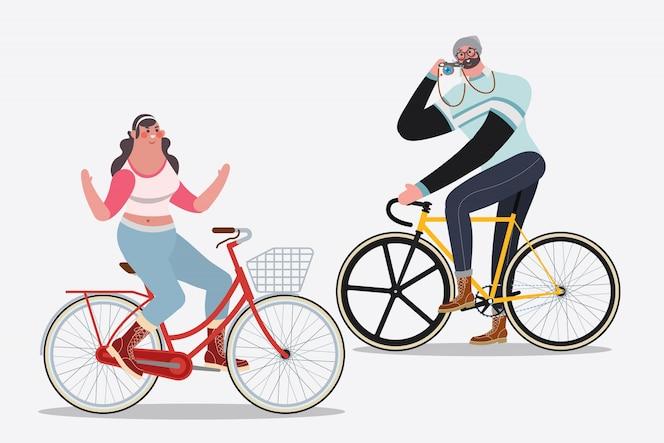 Cartoon karakter ontwerp illustratie. mannen rijden fietsen foto's maken vrouw rijden op een fiets geen hand