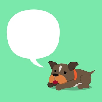 Cartoon karakter pitbull terriër hond met witte tekstballon