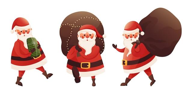 Cartoon karakter santa claus levert geschenken in een grote zak