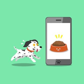 Cartoon karakter schattige dalmatische hond en smartphone