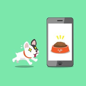 Cartoon karakter schattige franse bulldog en smartphone