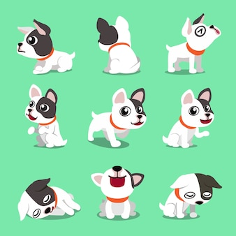 Cartoon karakter schattige franse bulldog vormt