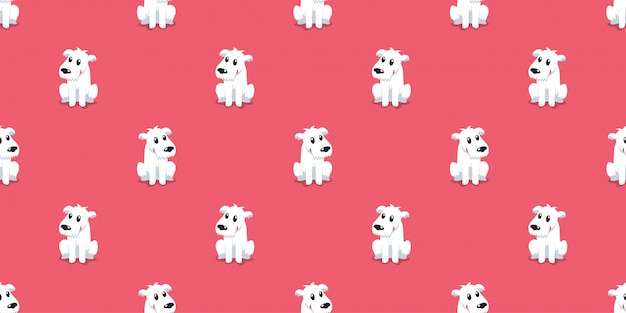 Cartoon karakter schattige hond naadloze patroon achtergrond