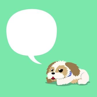 Cartoon karakter shih tzu hond met witte tekstballon