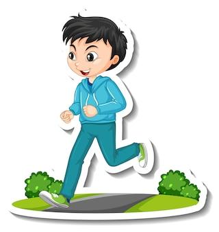 Cartoon karakter sticker met een jongen joggen op witte achtergrond