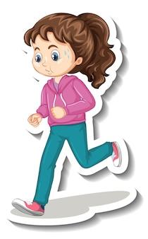 Cartoon karakter sticker met een meisje joggen op witte achtergrond