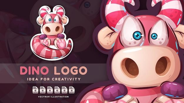 Cartoon karakter teddy dier dino schattige sticker
