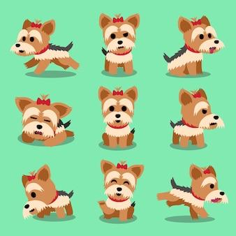 Cartoon karakter yorkshire terrier hond vormt set