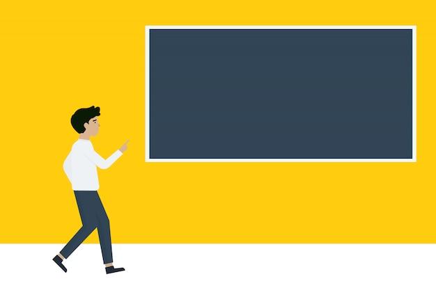 Cartoon karakter zakenman wijzend kopie ruimte op geel