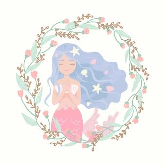 Cartoon karakter zeemeermin bloem frame