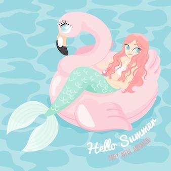 Cartoon karakter zeemeermin met zwembad float flamingo