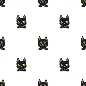 Cartoon karakter zwarte kat naadloze patroon achtergrond
