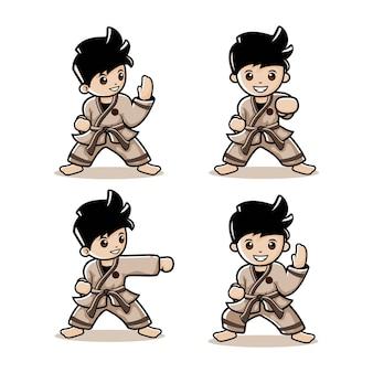 Cartoon karate jongen met vier verschillende acties