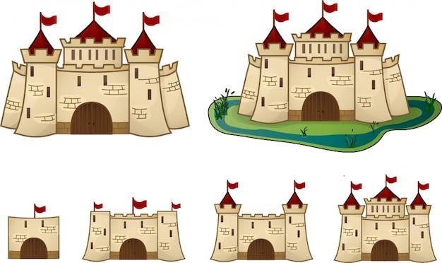 Cartoon kasteel evolutie voor het spel