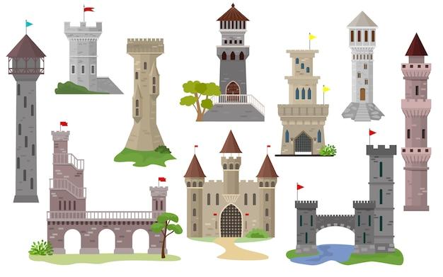 Cartoon kasteel vector sprookjesachtige middeleeuwse toren van fantasie paleis bouwen