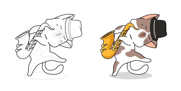 Cartoon kat en saxofoon kleurplaat voor kinderen