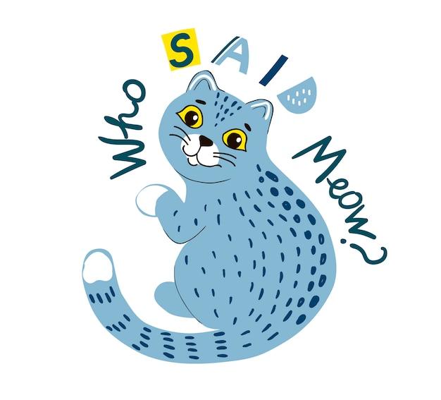 Cartoon kat en vlog belettering. decoratief dier