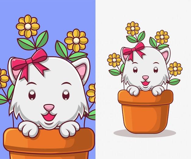 Cartoon kat in een bloempot