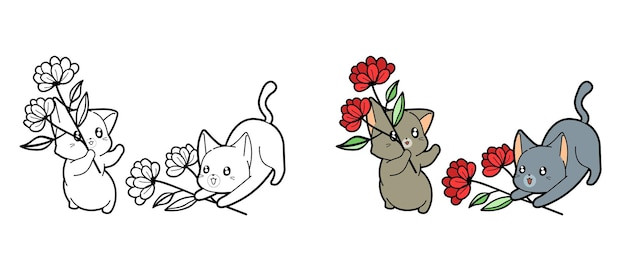 Cartoon katten en bloemen kleurplaat pagina voor kinderen