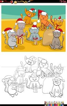 Cartoon katten groep op kerst kleurboekpagina