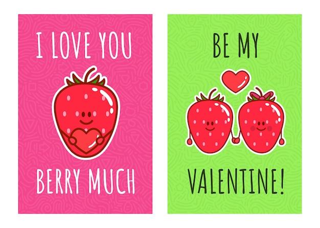 Cartoon kawaii aardbeien. leuk stel bessen met typografie: ik hou veel van je bes, wees mijn velentine. illustratie voor valentijnsdag en romantische kaarten.