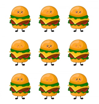 Cartoon kawaii fastfood - set van hamburgers