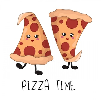 Cartoon kawaii fastfood - stukjes pepperoni pizza