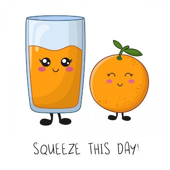 Cartoon kawaii tekens - oranje fruit en een glas sap