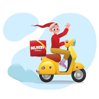 Cartoon kerst bezorgservice