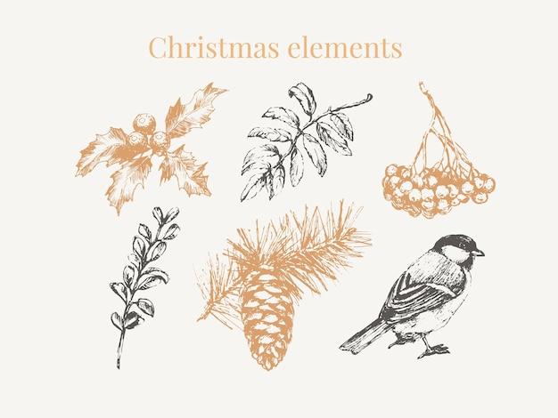 Cartoon kerst elementen voor viering decoratie ontwerp.